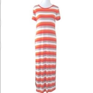 NEW Michael Kors Striped Maxi Dress Short Sleeve S